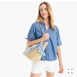 Jcrew Short Sleeve Button Up Shirt In Chambray